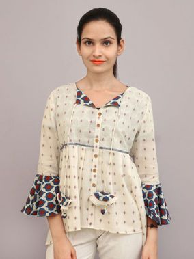 Off White Blue Cotton Printed Top