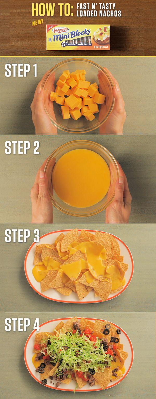 How to make VELVEETA Fast N' Tasty Loaded Nachos - Simply start with chips, add cheesy goodness with two NEW 4oz. VELVEETA Mini Blocks, load on the toppings and it's time to enjoy! For more Mini Block recipes visit http://www.kraftrecipes.com/velveeta