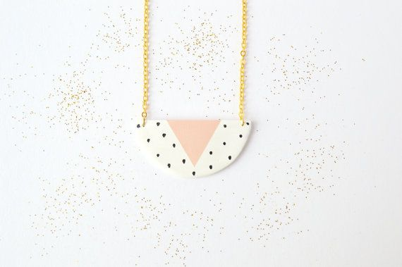 Ceramic pendant Geometric clay necklace Pastel jewellery Polka dot jewelry Statement necklace