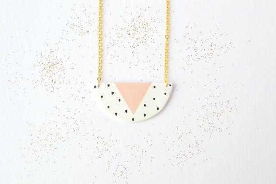 Ceramic pendant Geometric clay necklace Pastel jewellery Polka dot jewelry Statement necklace