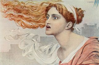 "Anthony Frederick Augustus Sandys (1829-1904), ""Cassandra"" in Greek myth, the prophetic daughter of Priam, king of Troy, and Hecuba his wife. 