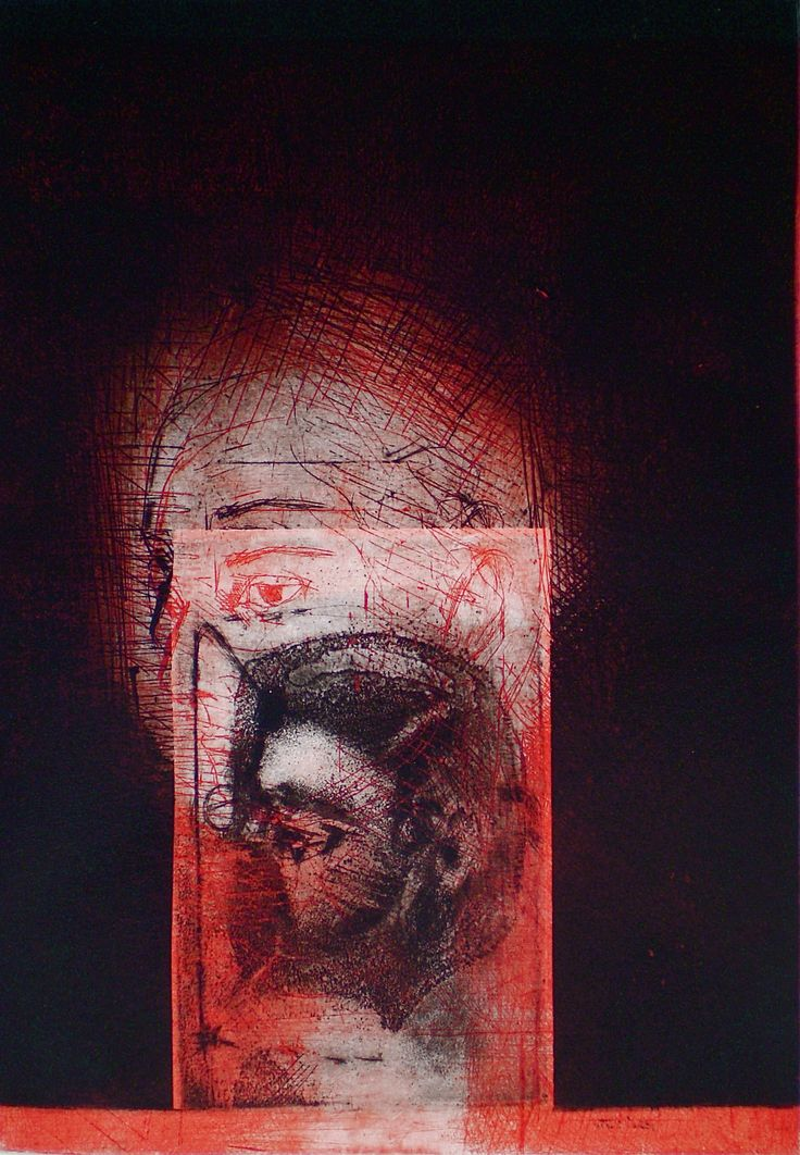 ELAINE d'ESTERRE - Red Column 2, 1/1, 2009, intaglio and drypoint 26x18 cm print, 37x23 cm paper by Elaine d'Esterre about pre-Minoan symbolism and female identity, viewed at http://elainedesterreart.com and http://www.facebook.com/elainedesterreart/ and http://instagram.com/desterreart/