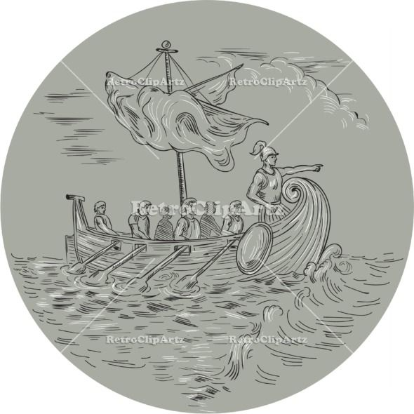 Ancient Greek Trireme Warship Circle Drawing Vector Stock Illustration.  Drawing sketch style illustration of an ancient Greek trirema warship ship with mariners rowing and navigator pointing forward sailing on rough Mediterranean sea set inside circle. #illustration   #AncientGreekTriremeWarship