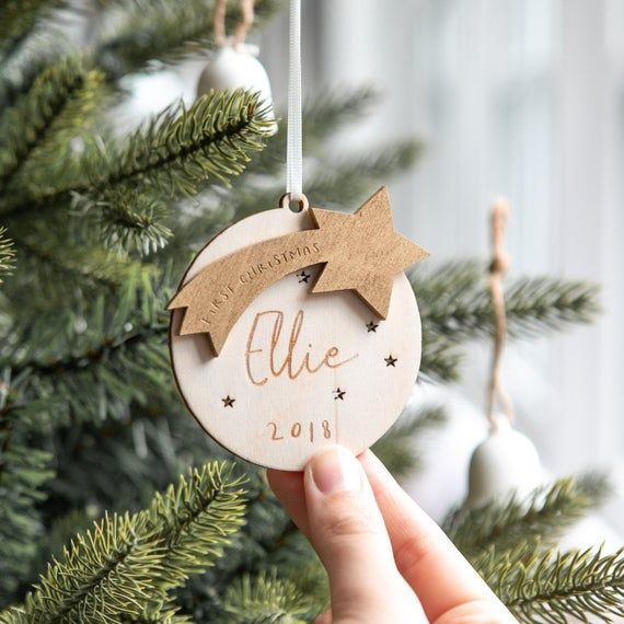Personalised First Christmas Star Bauble Decoration 1st Etsy In 2020 Personalised Christmas Decorations Christmas Gift Decorations Personalised Christmas Baubles