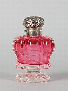 Sterling silver topped ruby glass facet cut ladies perfume bottle hallmarked Birmingham 1902