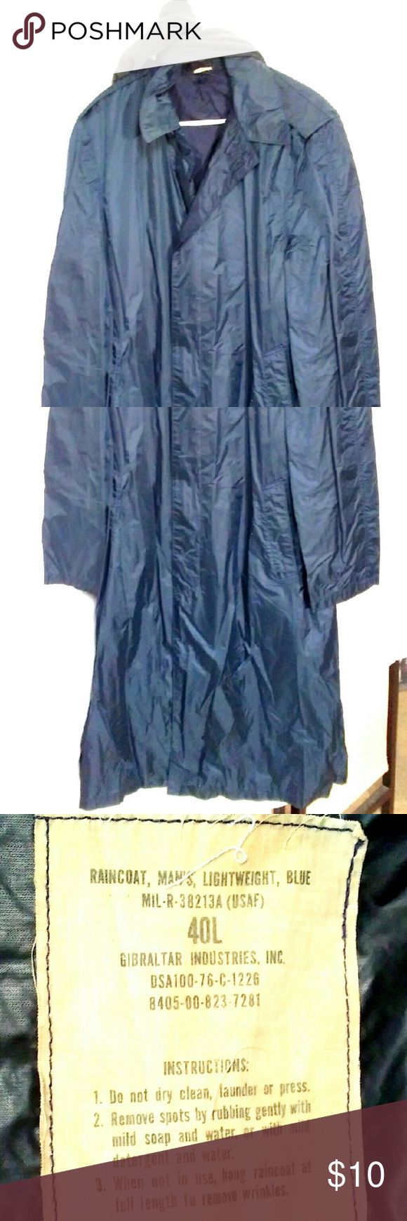 MENS RAINCOAT NEEDS NEW HOME! Rain coat is well used. Has no rips and or tears. Is also very light weight. Jackets & Coats Raincoats