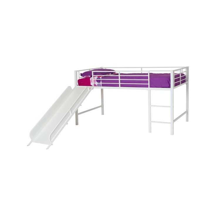Junior Loft Bed with Slide Twin White - Dorel Home Products