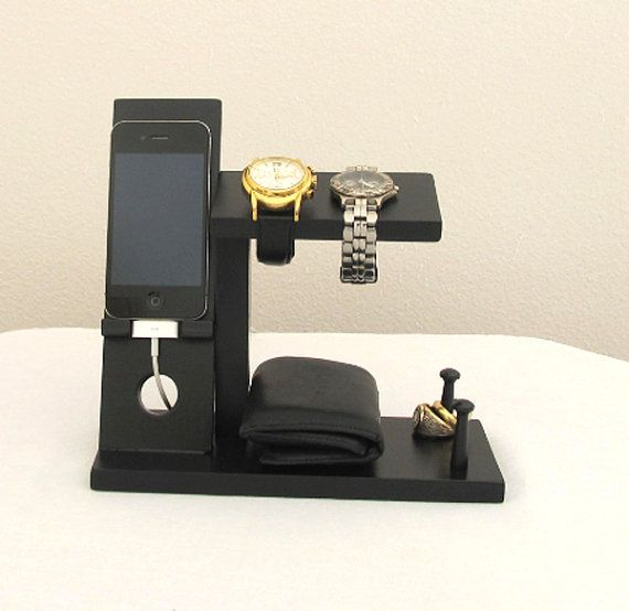 Iphone Stand with Mens Valet Men Watch Holder by ImproveResults