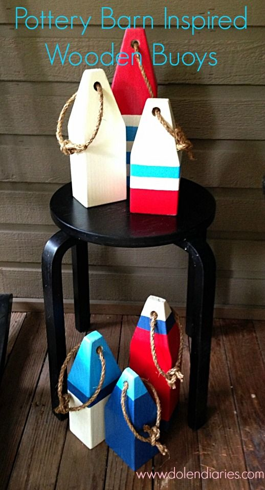 Pottery Barn Inspired Wooden Buoys with Dolen Diaries THESE WOULD LOOK SO CUTE IN ELI'S SAIL BOAT ROOM!