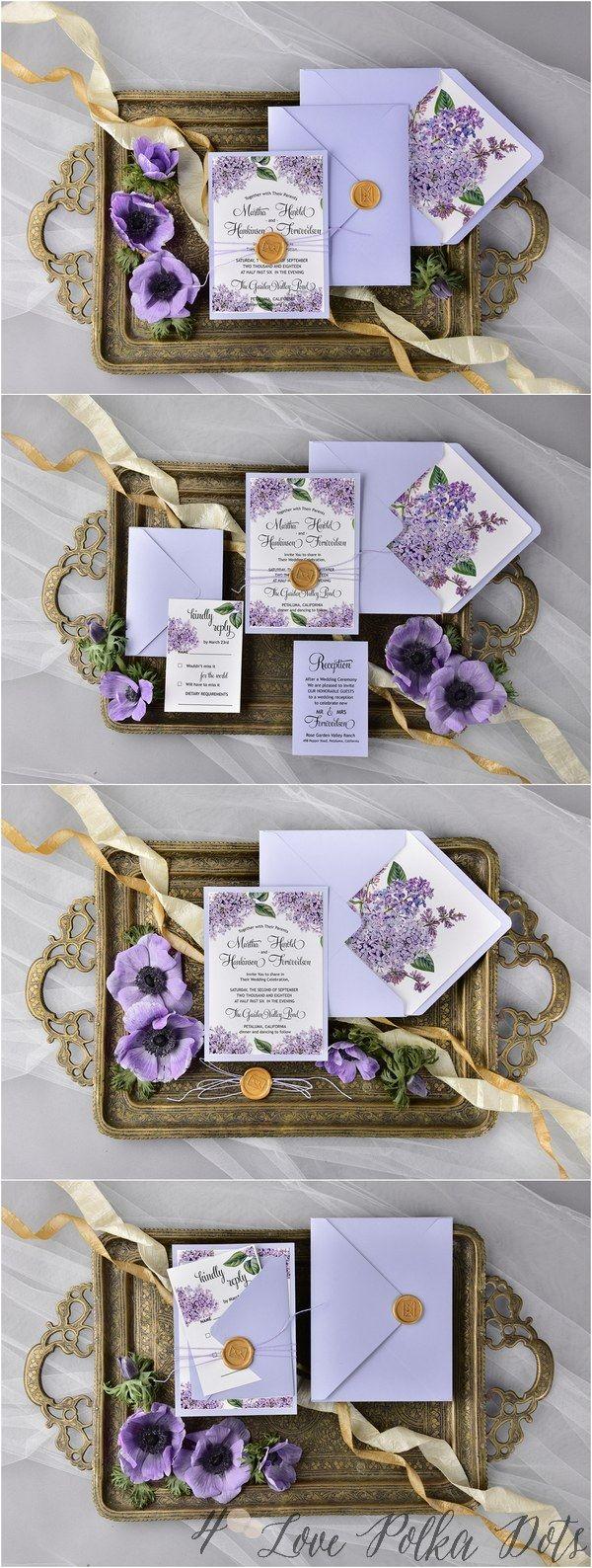 Purple hydrangea wedding invitation sample - Watercolor Passion Purple Hydrangea Wedding Invitations