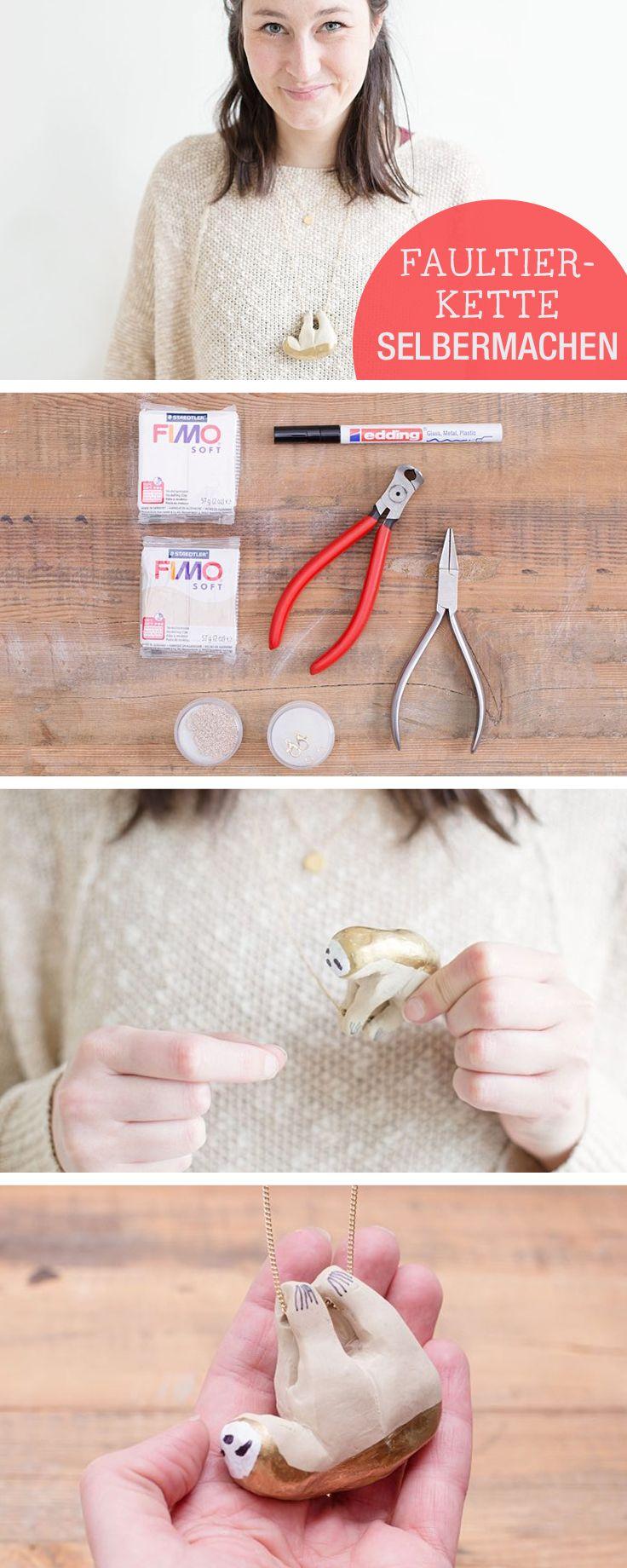 DIY-Anleitung für Schmuck: Kette mit Faultier selbermachen, Schmuck selbermachen / jewelry crafting idea: make a sloth necklace via DaWanda.com