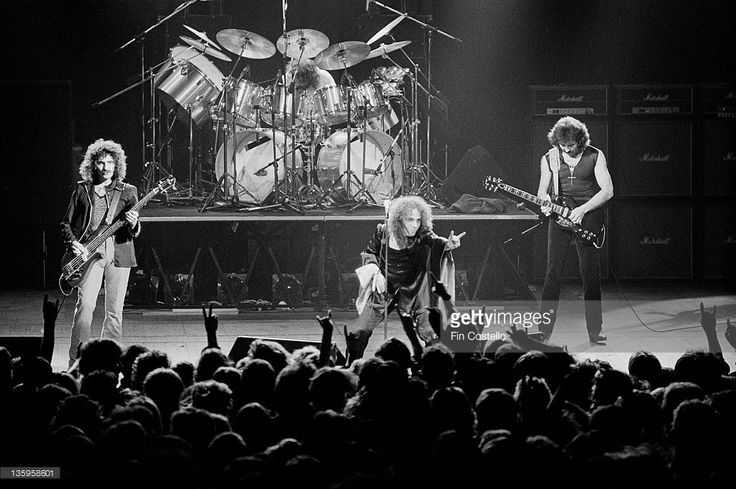 Black Sabbath perform live on stage at the Gaumont Theatre in Southampton on 25th June 1980. Left to right: Geezer Butler, Bill Ward, Ronnie James Dio (1942-2010) and Tony Iommi.