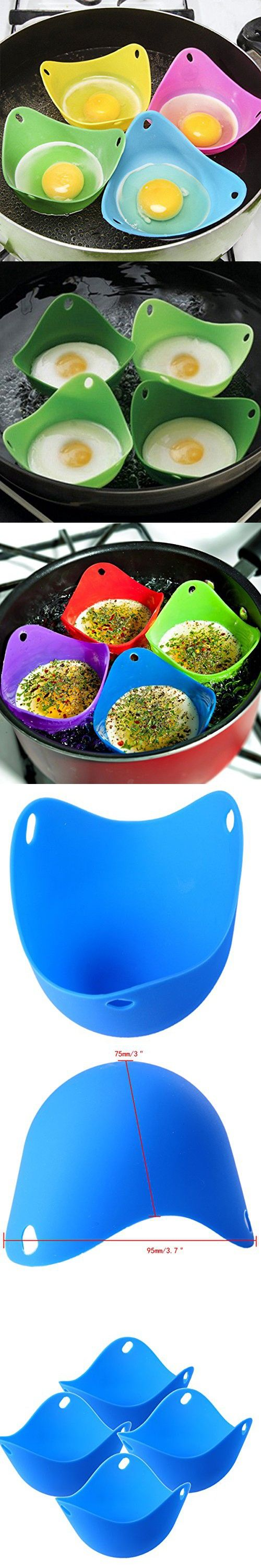 WHOSEE 4Pcs Silicone Egg Poacher Sandwich Baking Cup DIY Kitchen Cookware Blue