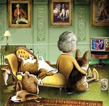 """HRH + corgi pack: """"One loves watching TV with one's dogs"""" // #Corgis"""