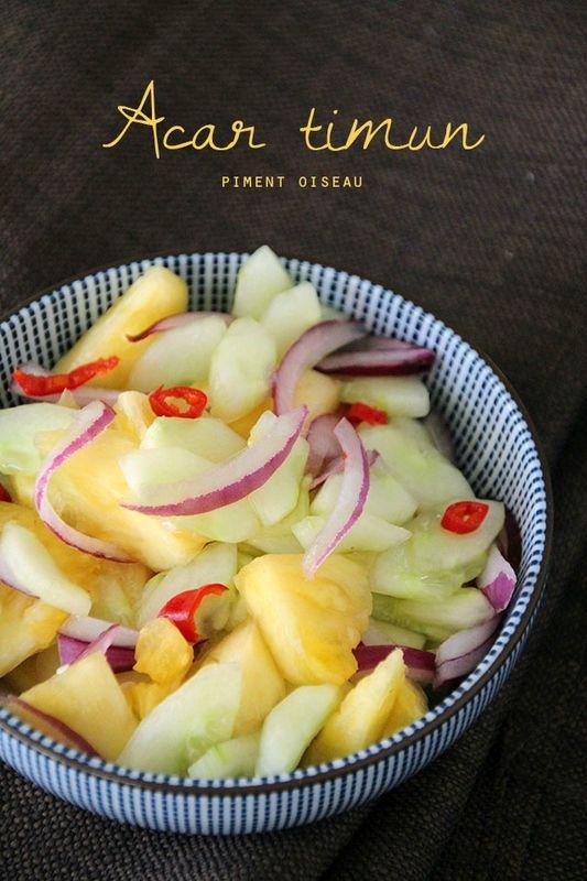 Acar timun- salade de concombre et ananas à l'indonésienne - Indonesian cucumber and pineapple salad