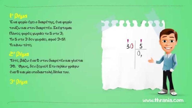 Διαίρεση ακέραιου με ακέραιο και πηλίκο δεκαδικό αριθμό