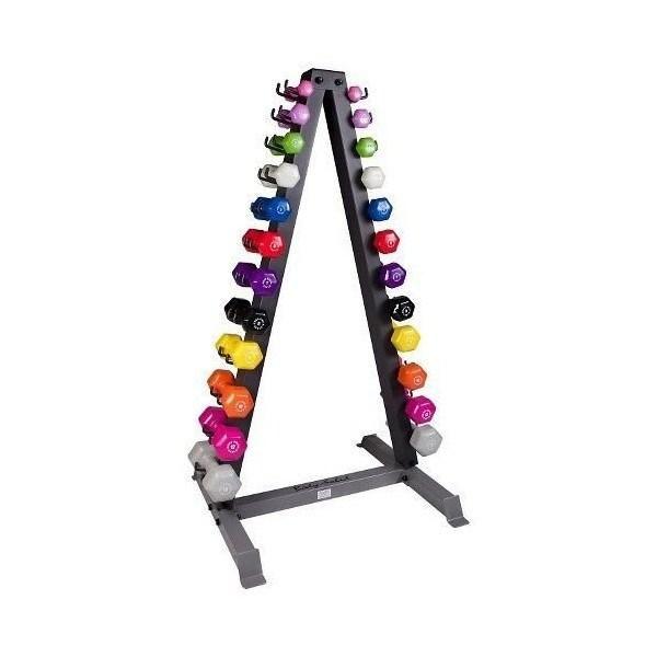 Body-Solid 12 Pairs Neoprene Dumbbell Set w/Rack (1-15lbs.)