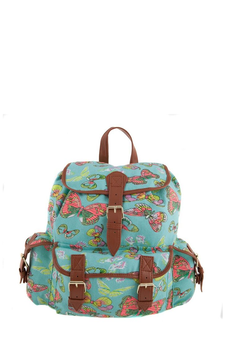 1534106848, AQUA, Butterfly print backpack ,Butterfly print σακίδιο