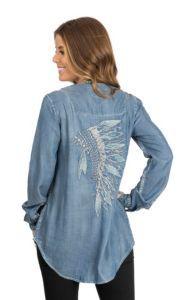 Ryan Michael Women's Blue Headdress Embroidered Tunic Fashion Shirt | Cavender's