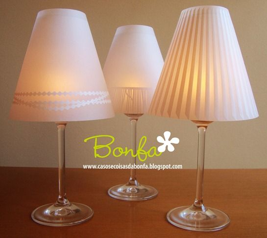 Diy wine glasses tea light candle paper lamp shade for Wine glass lamp centerpiece