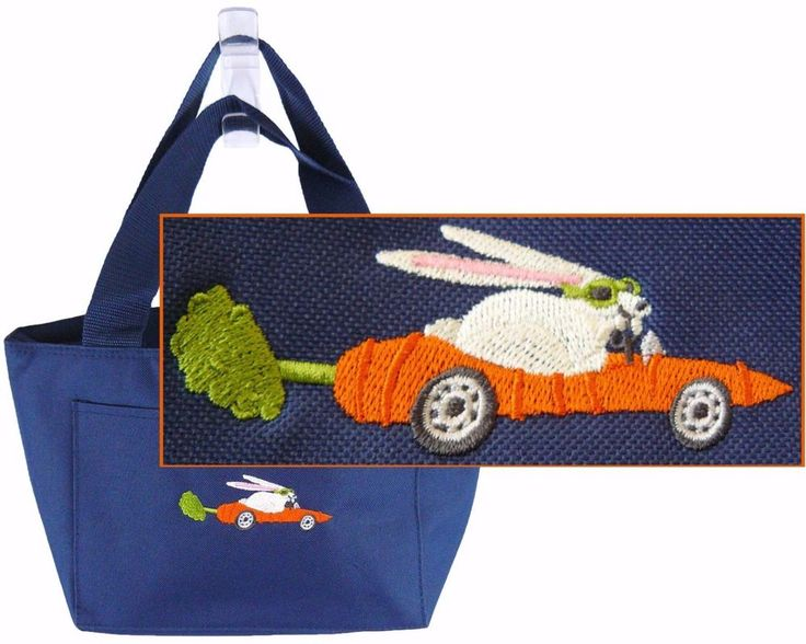 Bunny In Carrot Car Funny Rabbit Lunch Pail Thermal Cooler Custom Embroidered #LibertyBags