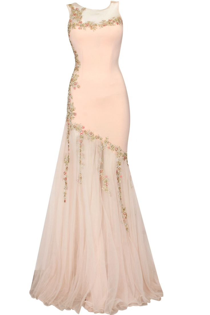 Creamy peach floral embroidered gown available only at Pernia's Pop Up Shop.
