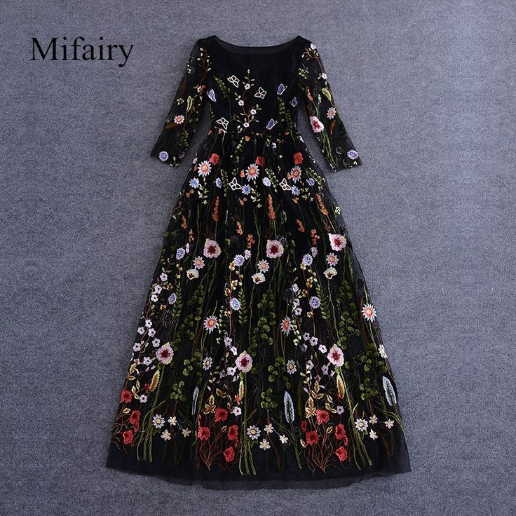 Cheap dress right dress, Buy Quality dress stretch directly from China dress gems Suppliers: Runway Dresses 2016 Black Half Sleeves Sheer Mesh Embroidery  Long Dresses Bohemian Brand Style Vestidos De Festa  62878