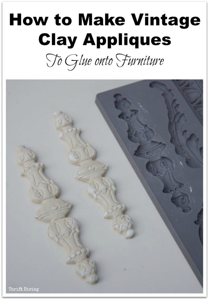 How to Make Vintage Clay Appliques to Glue onto Furniture - Thrift Diving