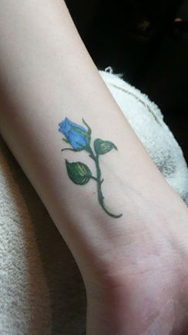 Blue Rose Bud Tattoo Perfect For Just About Anywhere So Delicate And Small Tattoo Designs Small Tattoos Small Tattoos For Guys