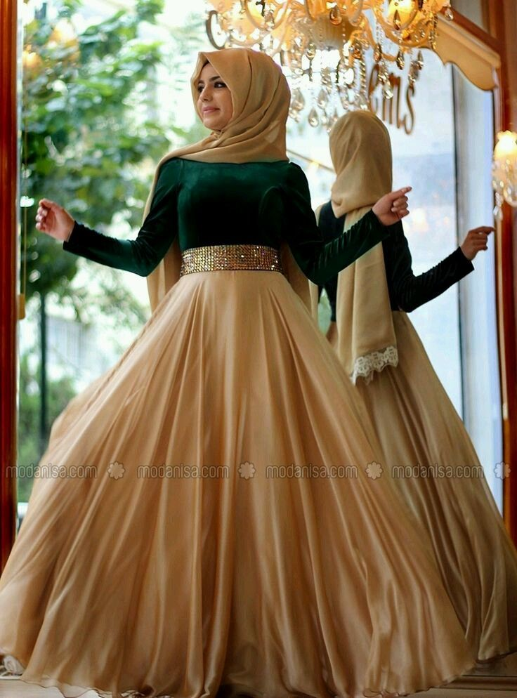 29770973cacc8 Gold (altın rengi) ve yeşilin uyumu tesettür abiye elbise - #tesettür #abiye  #elbise #modelleri #altın #yeşil #uyum www.abi… | Muslim Women Formal Wear  ...