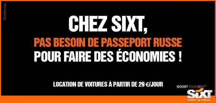 Sixt, qui rebondit sur l'actualité de notre Gérard Depardieu national, avec cette création réalisée en interne comme à son habitude. « Pas besoin de passeport russe pour faire des économies ! »