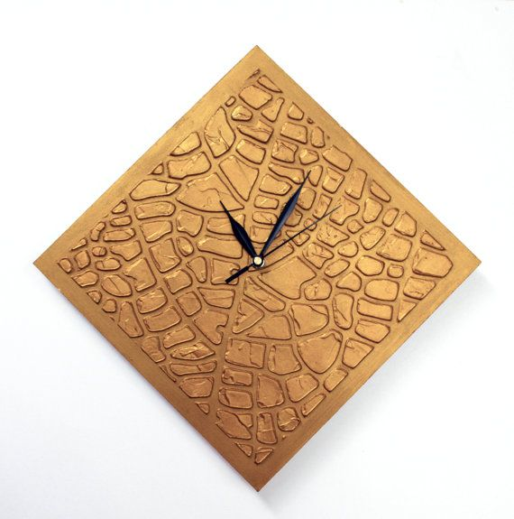 GOLD CLOCK gold wall clock gold unique home decor by PilipArt