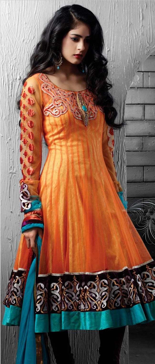 #Orange Net Readymade #Anarkali Churidar Kameez