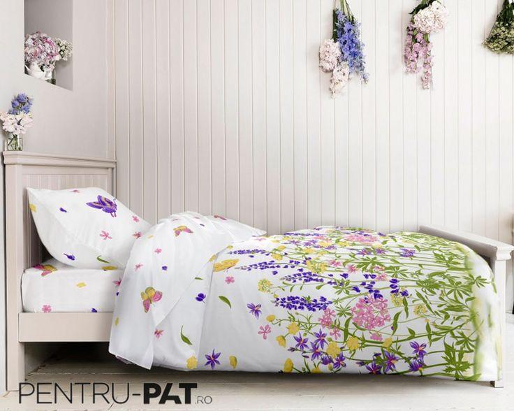Lenjerie de pat 100% bumbac ranforce cu flori colorate si fluturi