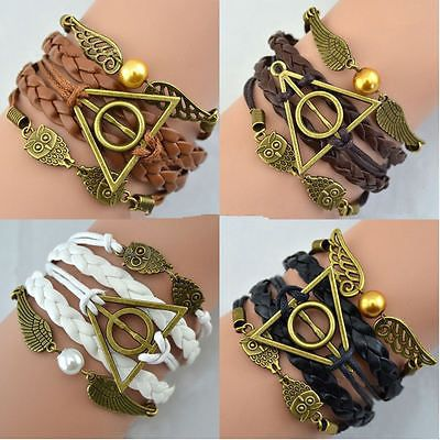 #Harry potter deathly #hallows style bracelets golden #snitch owl jewellary gift ,  View more on the LINK: http://www.zeppy.io/product/gb/2/252317090505/