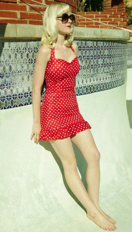 Red and White polka dot ruffle Two Piece swim dress retro pin-up swimsuit Made to order. $90.00, via Etsy.