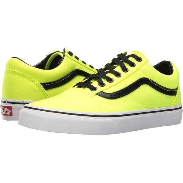 Vans Old Skool ((Brite) Neon Yellow/Black) Skate Shoes (£28) ❤ liked on Polyvore featuring shoes, yellow, leather skate shoes, yellow skate shoes, kohl shoes, black yellow shoes and shock absorbing shoes