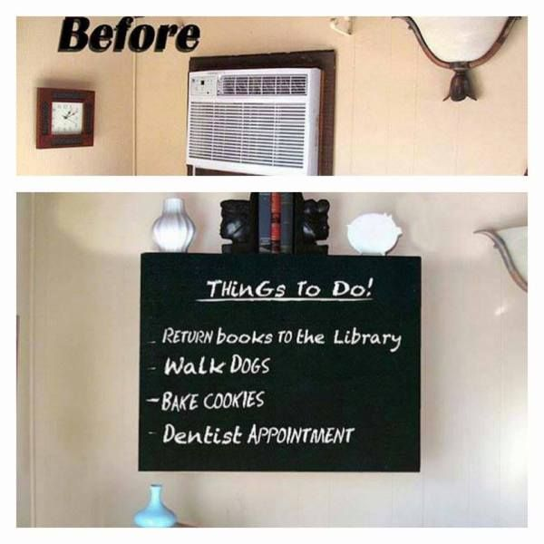Hide An ugly AC Wall Unit  Just install a little shelf and chalkboard over it! (make sure not to block the airflow though)