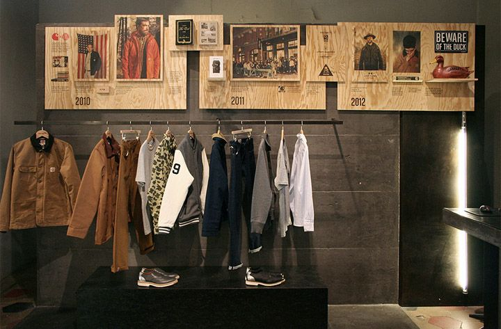 """Showing how a brand or store has been built is a fun, innovative and interactive way to tell customers a story. Here Carhartt shows their """"Work In Progress"""" in Milan. #RetailDesign #Branding"""