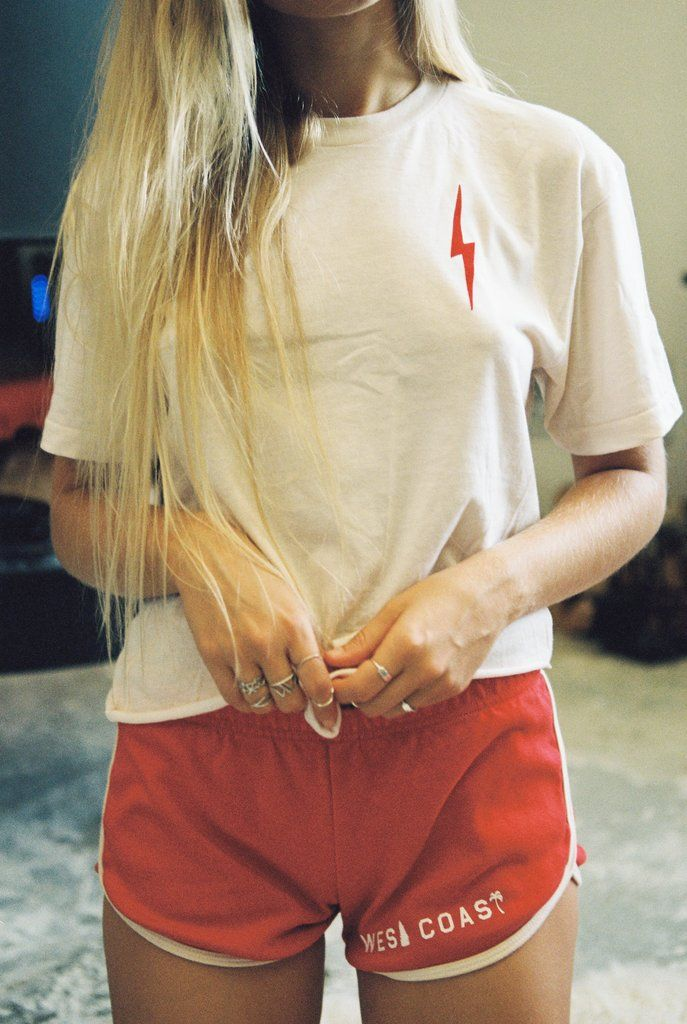 - West Coast Shorts - Available in red and vintage white trim. - Sizes S, M, L - 100% interlock Cotton