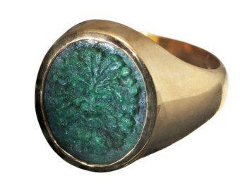 Jade celta anillo cresta Noble sello chapado en oro por Regnas