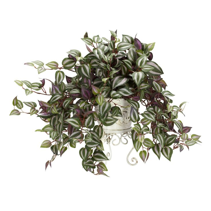 Nearly Natural Wandering Jew Silk Plant with Metal Planter (Wandering Jew w/Metal Planter Silk Plant), Green