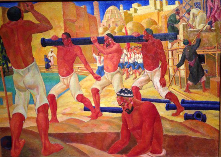 Nikolay Karakhan (1900-1970) Construction of Water Pipeline in Bukhara 1930s Karakalpakistan Museum of Art (Uzbekistan)