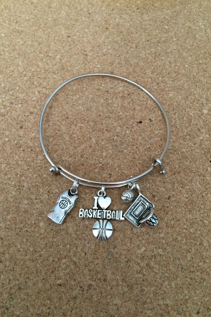 BASKETBALL Charm Bracelet - Silver-Plated Bangle - Alex & Ani style - Jersey/I heart Basketball/Hoop and Ball Charms - Made in USA - Sports by TheCharmingSister on Etsy