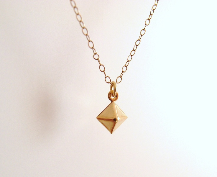 Pyramid - gold stud on dainty gold filled chain - simple minimal jewelry