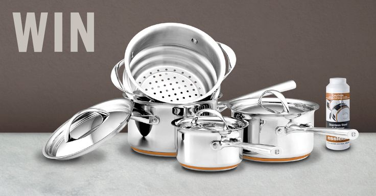 This week's prize is a 4 piece set of Essteele Per Vita Cookware and Essteele Powder Cleaner valued at $558.90!