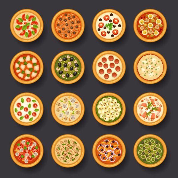16 delicious pizzas plan view vector graphics