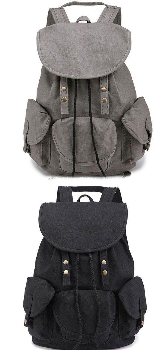 Leisure Vintage High School Bag Three Pockets Student Travel Canvas Backpack   backpack  Bag  school  student 99f16102e7f3e