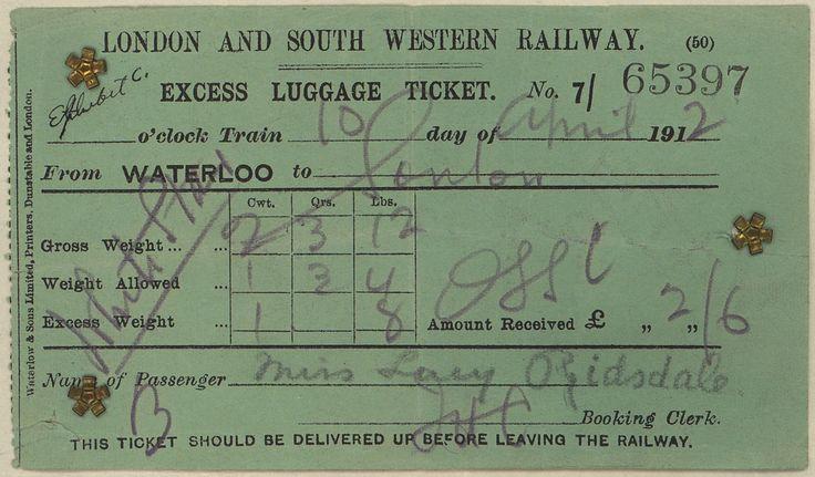 Titanic luggage ticket