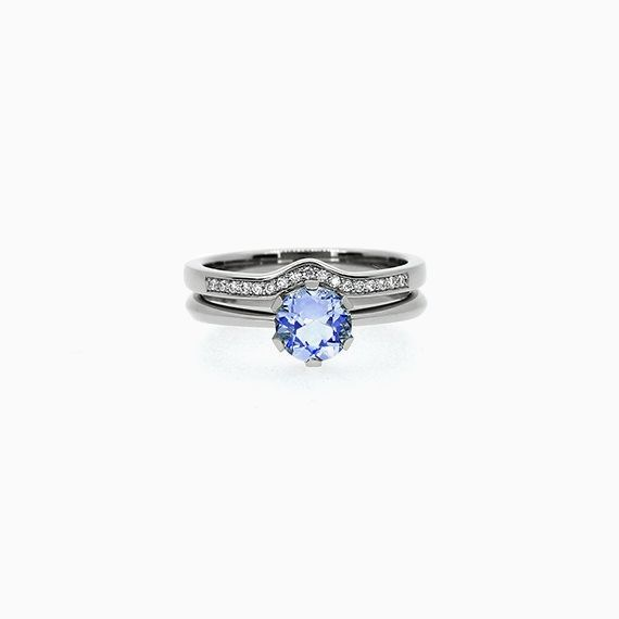 Solitaire Engagement Ring Set with Blue Sapphire